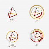 image of triangular pyramids  - Pyramid shape line design - JPG