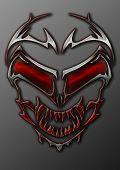 Metal Tribal Alien Skull With Glowing Red Eyes