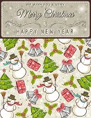 Background With Christmas Elements And Label For Message,  Vector