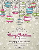 Color Background With Christmas Balls,  Vector