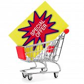 a colorful signboard with the text special offer on a shopping cart on a white background