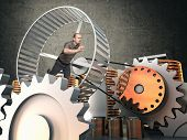 picture of hamstring  - man run in hamster wheel to produce energy - JPG