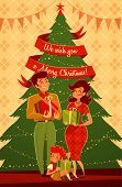 Happy family. Giving a Christmas gift. Greeting card \ poster \ banner. Vector illustration.