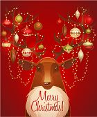Reindeer with christmas decorated horns. Greeting card \ poster \ banner. Vector illustration.