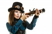 picture of gun shot  - steampunk woman retro girl holding a vintage gun studio shot isolated on white background - JPG