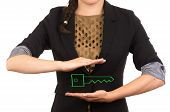 young businesswoman holding drawing of a key