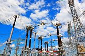 foto of substation  - Portals and support of electric substation for distribution and power generation - JPG