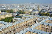 Bird eye view from Notre Dame of Paris