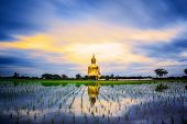 stock photo of thong  - Wat Muang with gilden giant big Buddha statue in Thailand - JPG