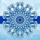 Blue colour vintage vector pattern. Hand drawn abstract mandala. Decorative retro banner. Invitation