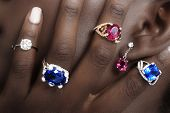 Tanzanite, Rubellite and Diamonds, Designer Jewellery on the Skin of a Black Lady