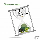 Tree And Sand Glass  Concept