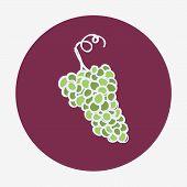 Hand-drawn grape ripe icon. White wine.