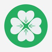 Flat style icon, four-leaf clover vector illustration. St. Patrick's Day symbol.