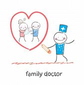 family doctor draws a heart around the family