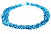 Blue Multistrand Twisted Beaded Neckwear, Traditionally African, Isolated on White Background