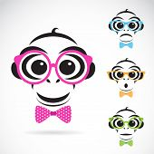image of misbehaving  - Vector image of a monkey wearing glasses on white background - JPG