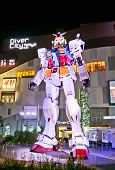 ODAIBA,TOKYO-OCTOBER 28, 2014: This is a replica of titular japanese robot anime Gundam. Standing 18m tall in front of Diver City in Tokyo, Japan.
