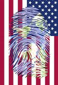 World Map finger print with US flag Elements of this image furnished by NASA