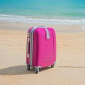 Suitcase at the beach