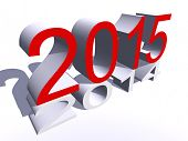 Conceptual 3D red 2015 new year text standing out of the crowd isolated on white background
