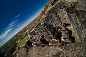 picture of ellora  - Top view of ancient cave temple in Ellora India - JPG