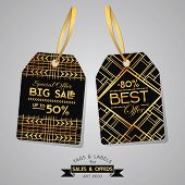 SALE Tags and Labels - Art Deco Style - in vector