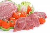 raw red meat with salad on white background