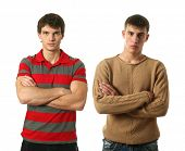 Two young sexy men wearing casual clothes isolated on white