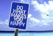 Do What Makes You Happy sign with a beach on background