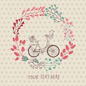 stock photo of badger  - Stylish vintage background with bicycle and place for your text - JPG