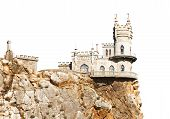 Swallow Nest Palace On Cliff In Crimea Isolated