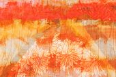 Painted Striped Orange Silk Batik