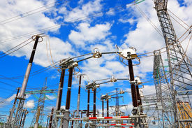 image of substation  - Portals and support of electric substation for distribution and power generation - JPG