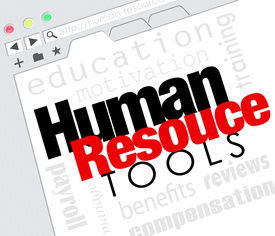 foto of intranet  - Human Resources words on a website internet screen including education - JPG