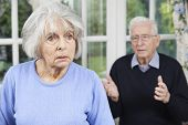 pic of argument  - Unhappy Senior Couple At Home Together Having Argument - JPG