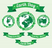 pic of slogan  - Badges with globe and arrows old style banners with Earth day slogans written inside - JPG
