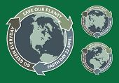 image of slogan  - Grunge badgets of globe and arrows with Earth day slogans written inside - JPG