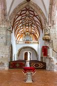 picture of church interior  - Interior of Fortified church in Prejmer Romania - JPG