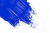 picture of dab  - blue stroke of the paint brush on white paper - JPG