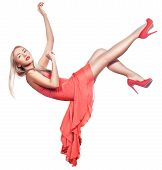 stock photo of sag  - Blonde girl hangs in the air and falls - JPG