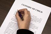 image of fill  - Female hand filling custody of child form - JPG