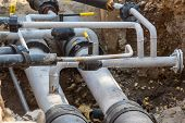 stock photo of underground water  - underground water pipeline  conections  - JPG