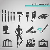 picture of acrylic painting  - vector illustration icons set of art supplies and instruments for painting - JPG