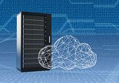 picture of mainframe  - one computer server cabinet with a cloud made with the technique of wireframe modeling blue background with binary numbers  - JPG