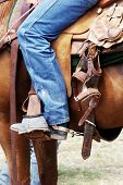 stock photo of brahma-bull  - Horse and rider at a rodeo - JPG