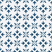 picture of indigo  - Indigo and white seamless floral delft pattern - JPG