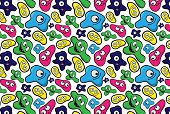 stock photo of microbes  - Colorful seamless pattern with funny microbes - JPG