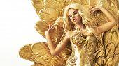 foto of woman glamorous  - Glamorous woman in gold - JPG