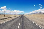 image of steppes  - Open road in mongolian steppe desert Russia